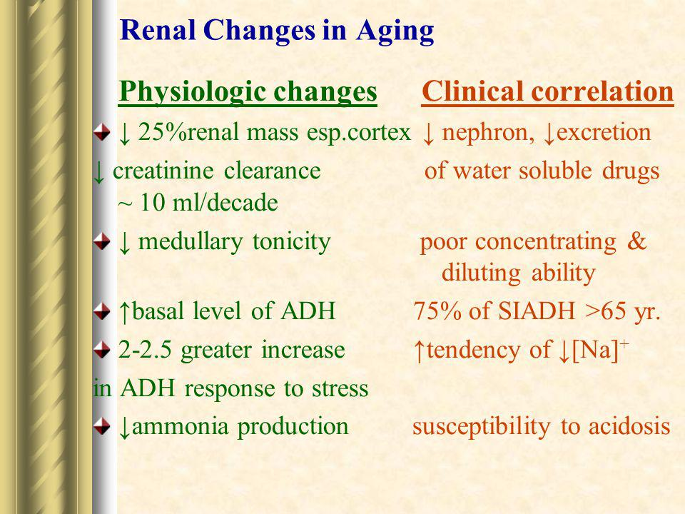 Renal Changes in Aging Physiologic changes Clinical correlation. ↓ 25%renal mass esp.cortex ↓ nephron, ↓excretion.