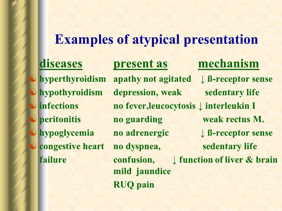 Examples of atypical presentation