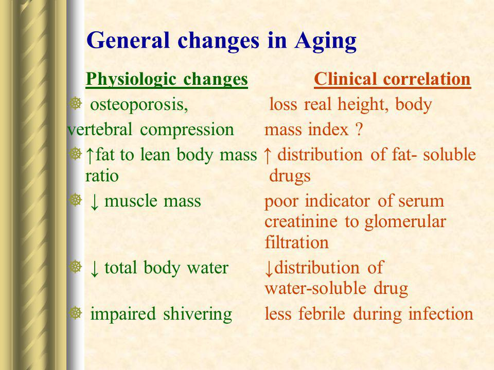 General changes in Aging