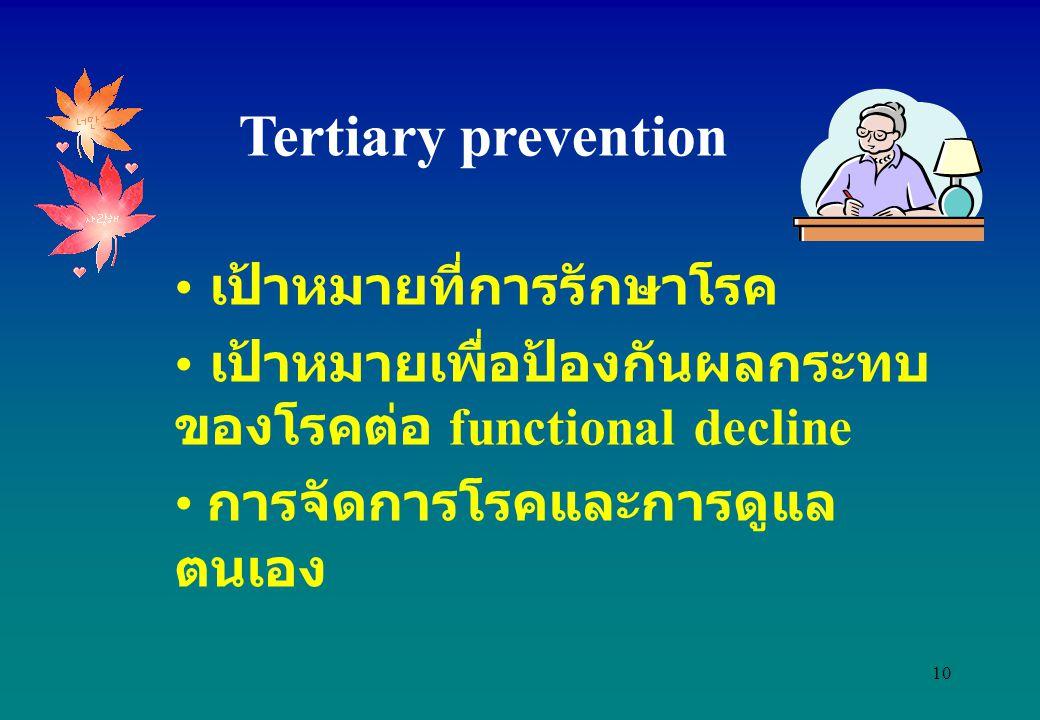 Tertiary prevention เป้าหมายที่การรักษาโรค
