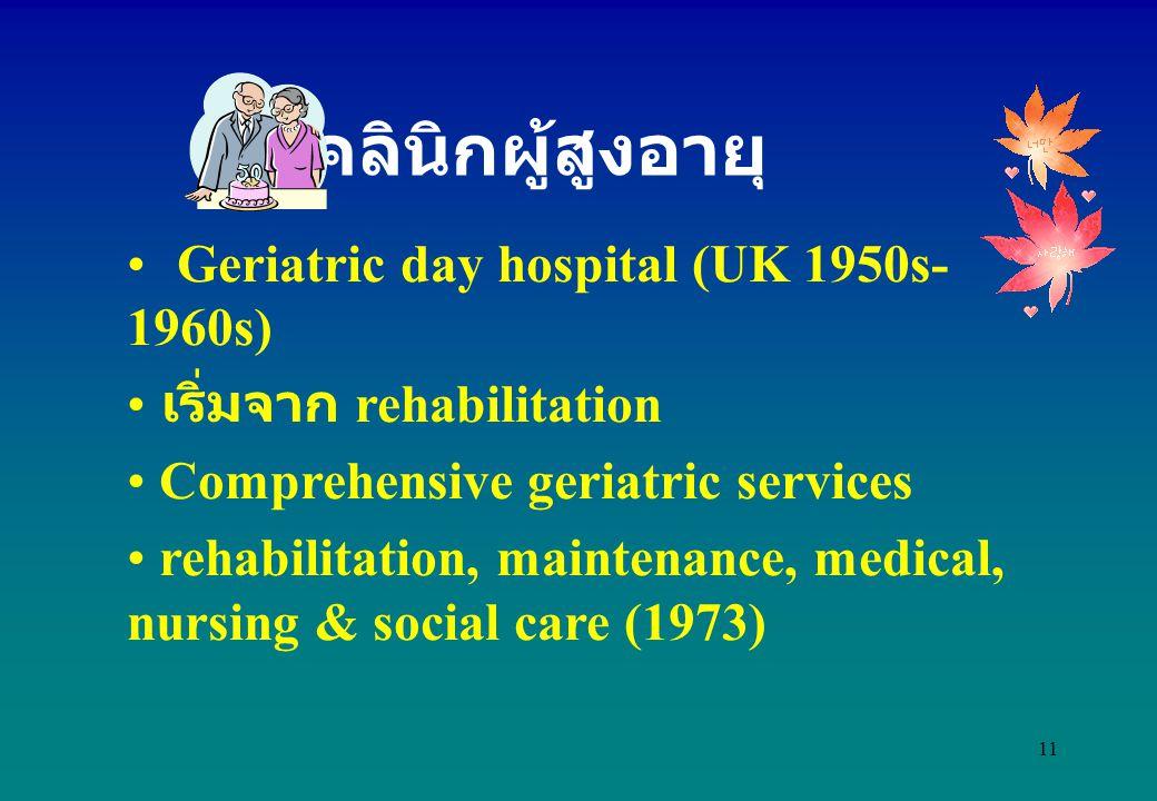 คลินิกผู้สูงอายุ Geriatric day hospital (UK 1950s-1960s)