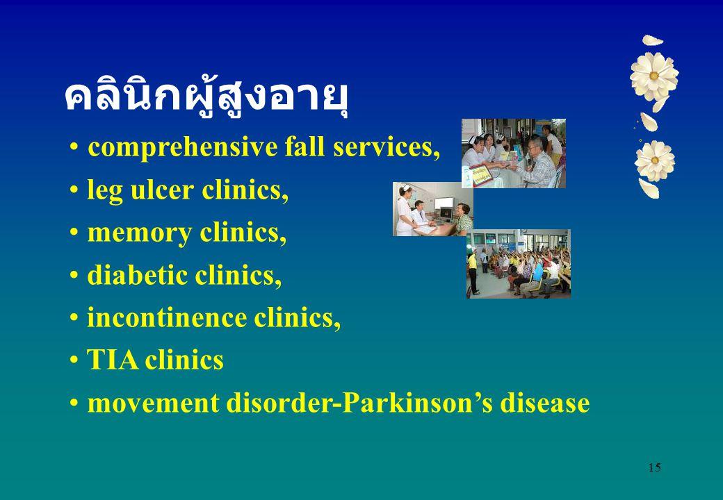 คลินิกผู้สูงอายุ comprehensive fall services, leg ulcer clinics,