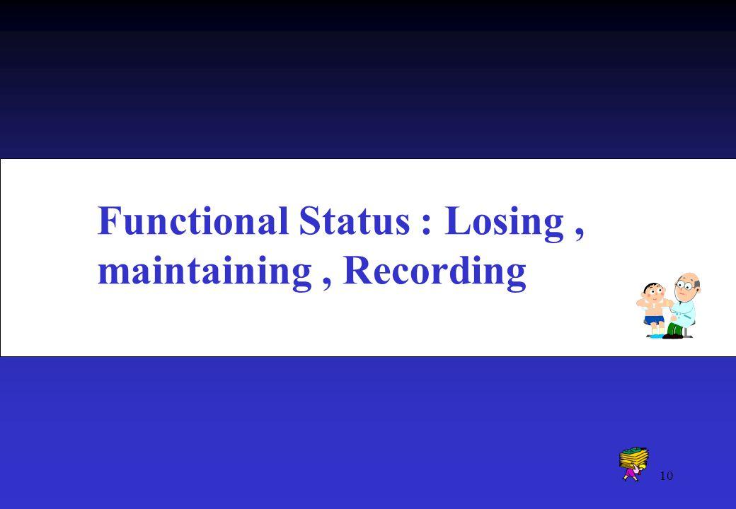 Functional Status : Losing , maintaining , Recording