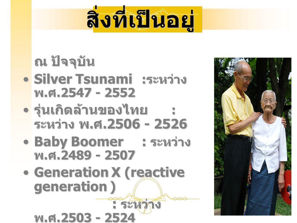 สิ่งที่เป็นอยู่ ณ ปัจจุบัน Silver Tsunami :ระหว่าง พ.ศ.2547 - 2552