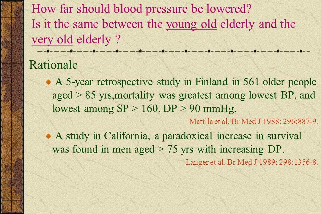 How far should blood pressure be lowered