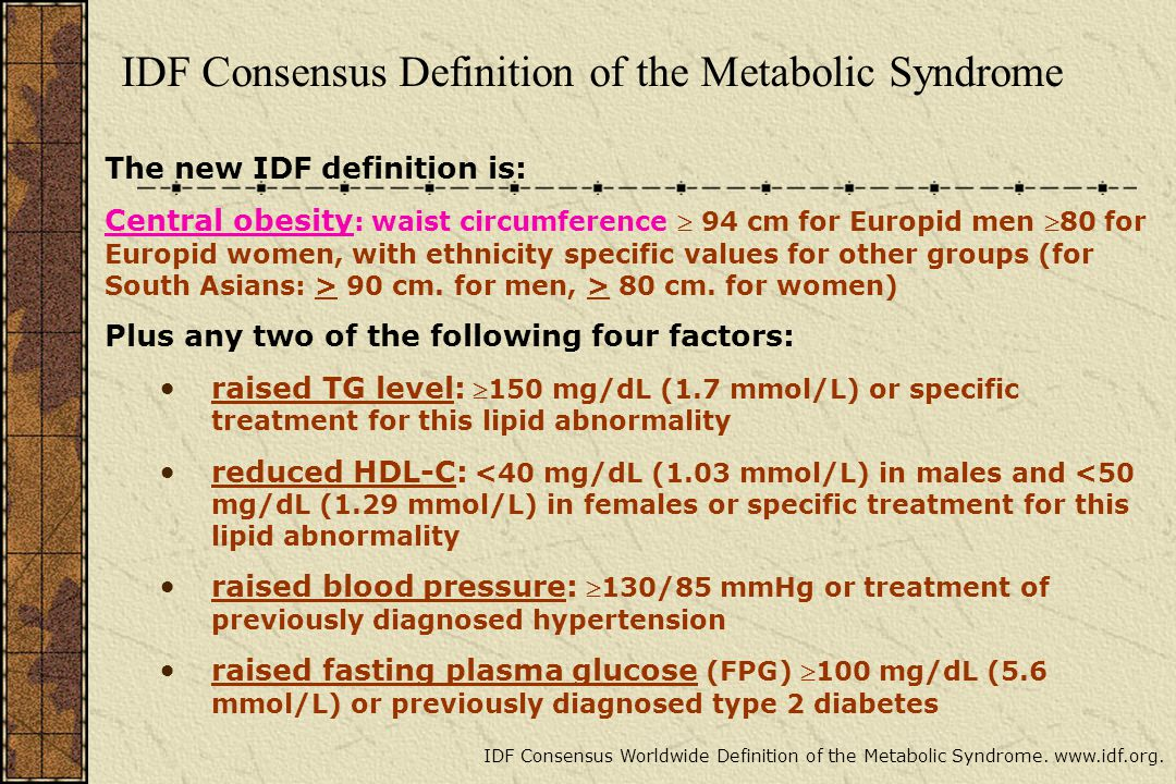 IDF Consensus Definition of the Metabolic Syndrome