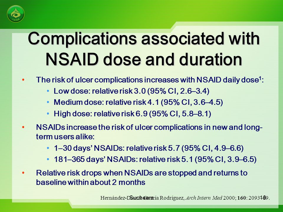 Complications associated with NSAID dose and duration