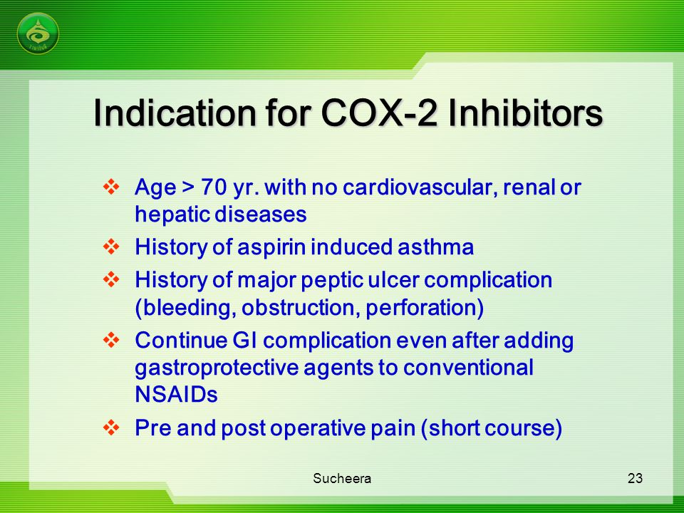 Indication for COX-2 Inhibitors