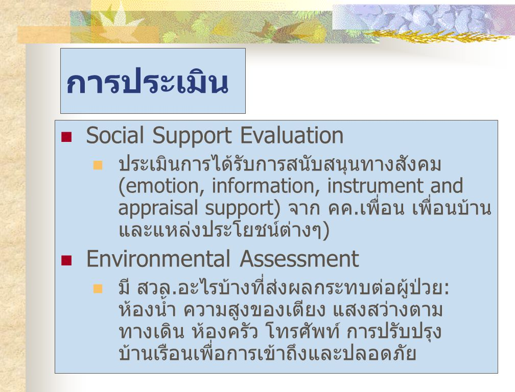 การประเมิน Social Support Evaluation Environmental Assessment