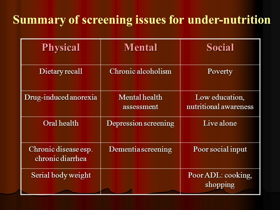 Summary of screening issues for under-nutrition