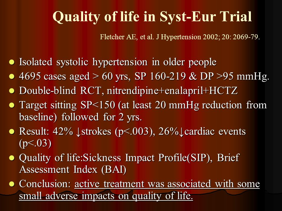 Quality of life in Syst-Eur Trial. Fletcher AE, et al