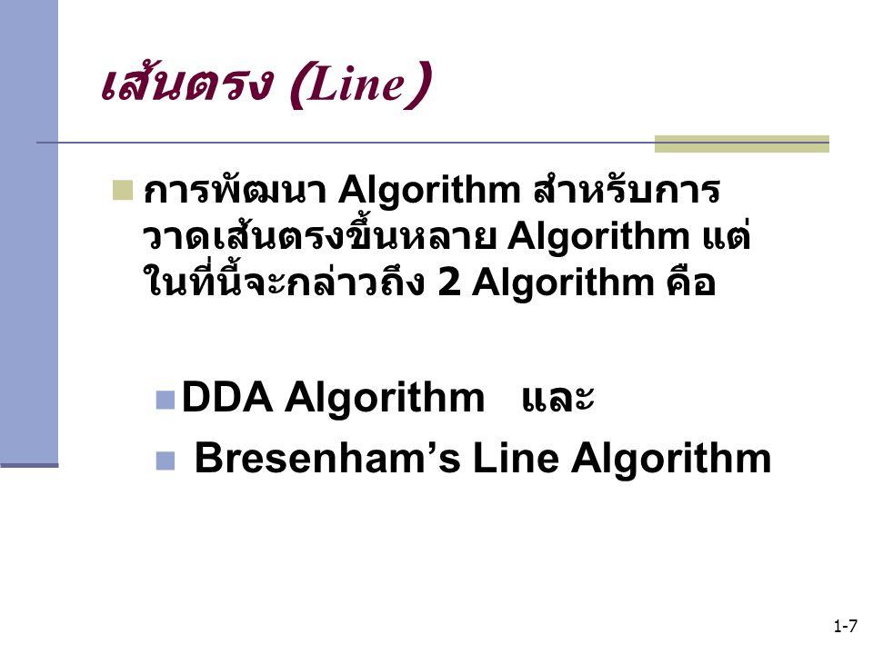 เส้นตรง (Line) DDA Algorithm และ Bresenham's Line Algorithm