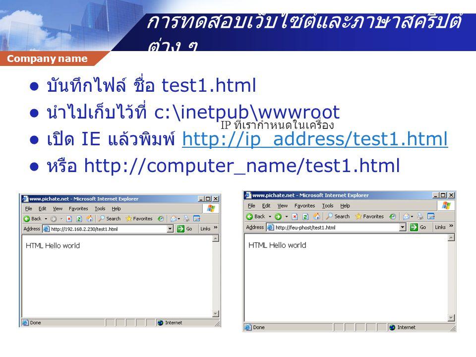 การทดสอบเว็บไซต์และภาษาสคริปต์ต่าง ๆ