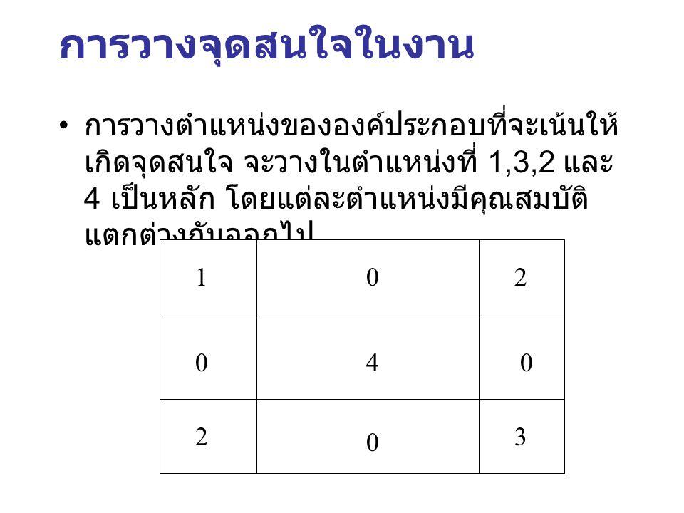 การวางจุดสนใจในงาน การวางตำแหน่งขององค์ประกอบที่จะเน้นให้เกิดจุดสนใจ จะวางในตำแหน่งที่ 1,3,2 และ 4 เป็นหลัก โดยแต่ละตำแหน่งมีคุณสมบัติแตกต่างกันออกไป.