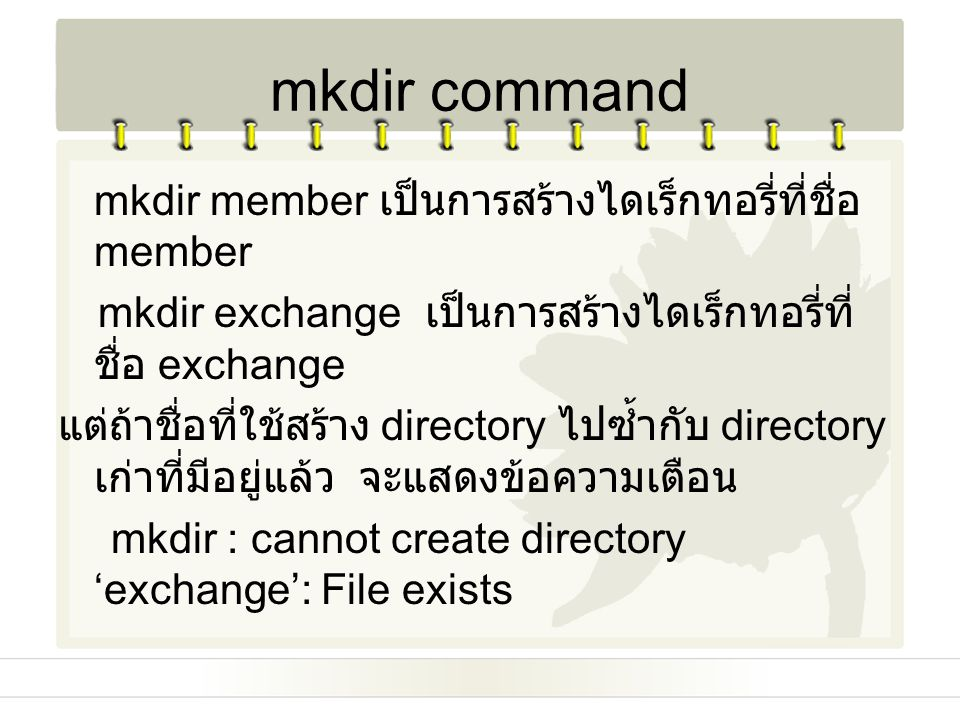 mkdir command mkdir member เป็นการสร้างไดเร็กทอรี่ที่ชื่อ member