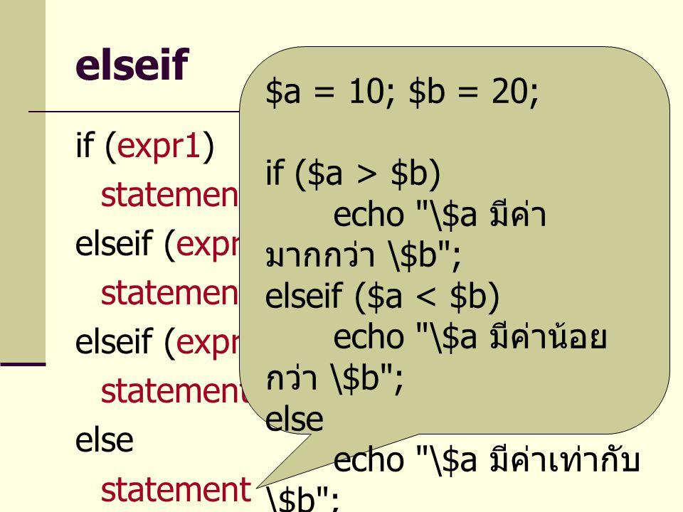 elseif $a = 10; $b = 20; if ($a > $b) echo \$a มีค่ามากกว่า \$b ;