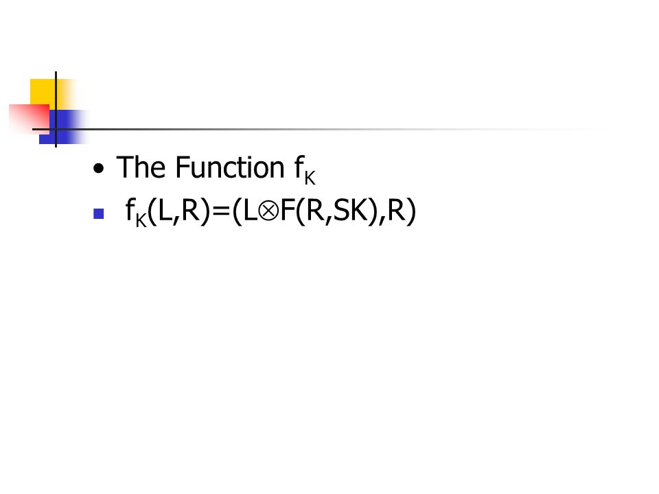 The Function fK fK(L,R)=(LF(R,SK),R)