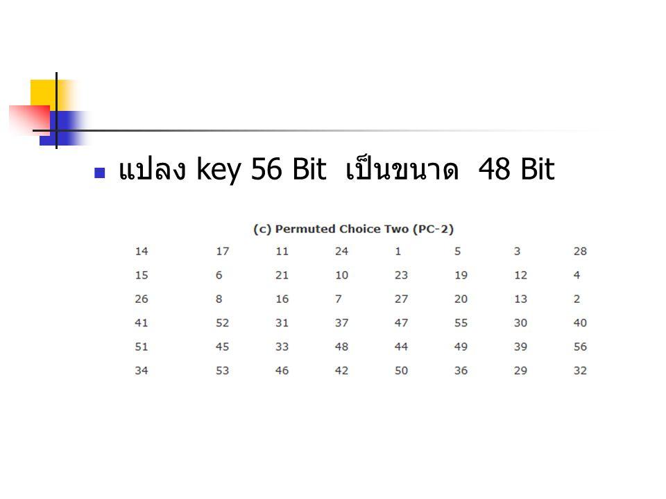แปลง key 56 Bit เป็นขนาด 48 Bit