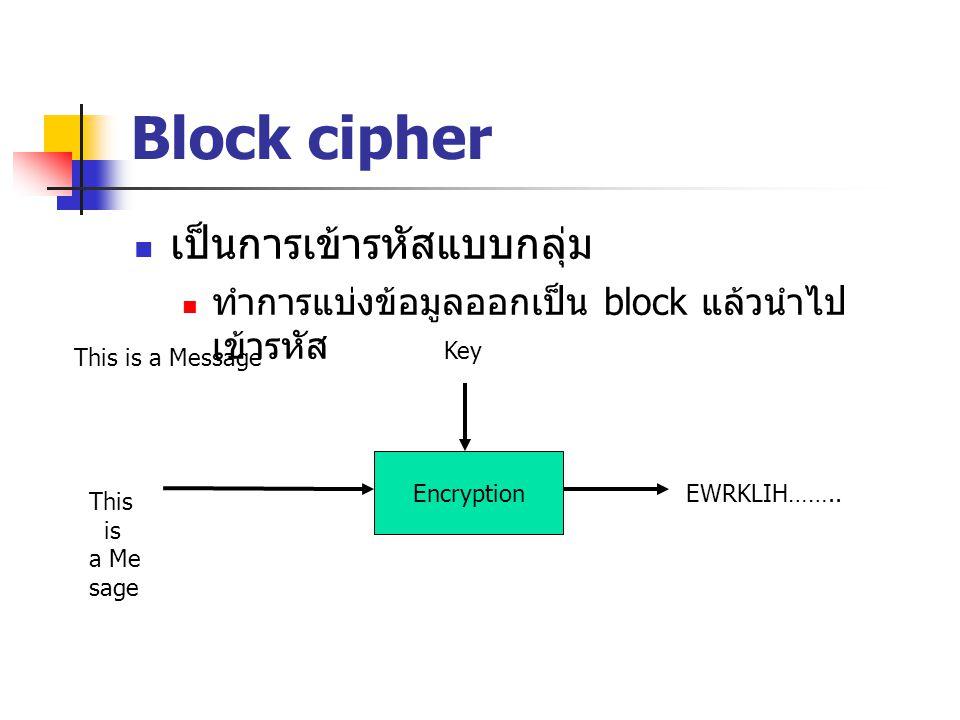 Block cipher เป็นการเข้ารหัสแบบกลุ่ม