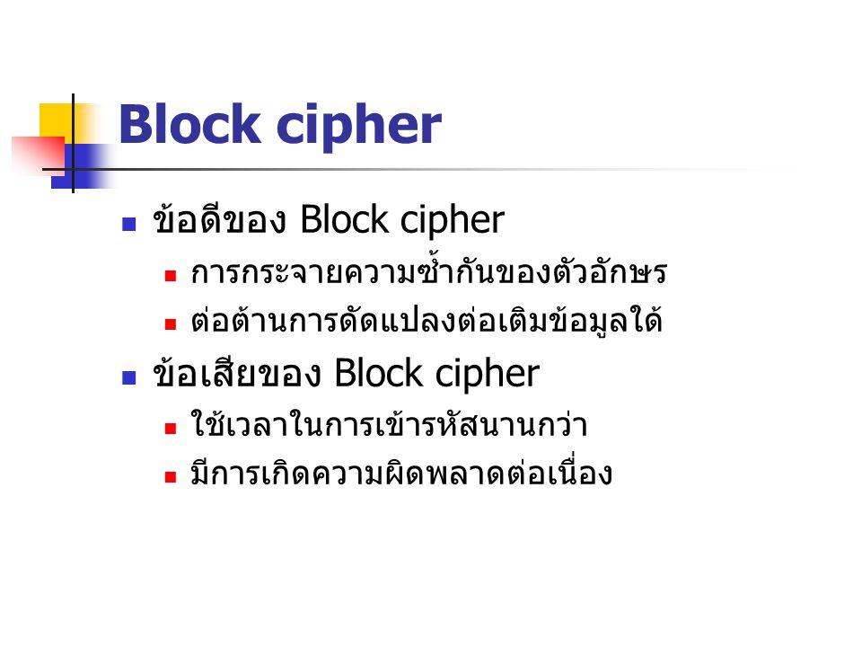 Block cipher ข้อดีของ Block cipher ข้อเสียของ Block cipher