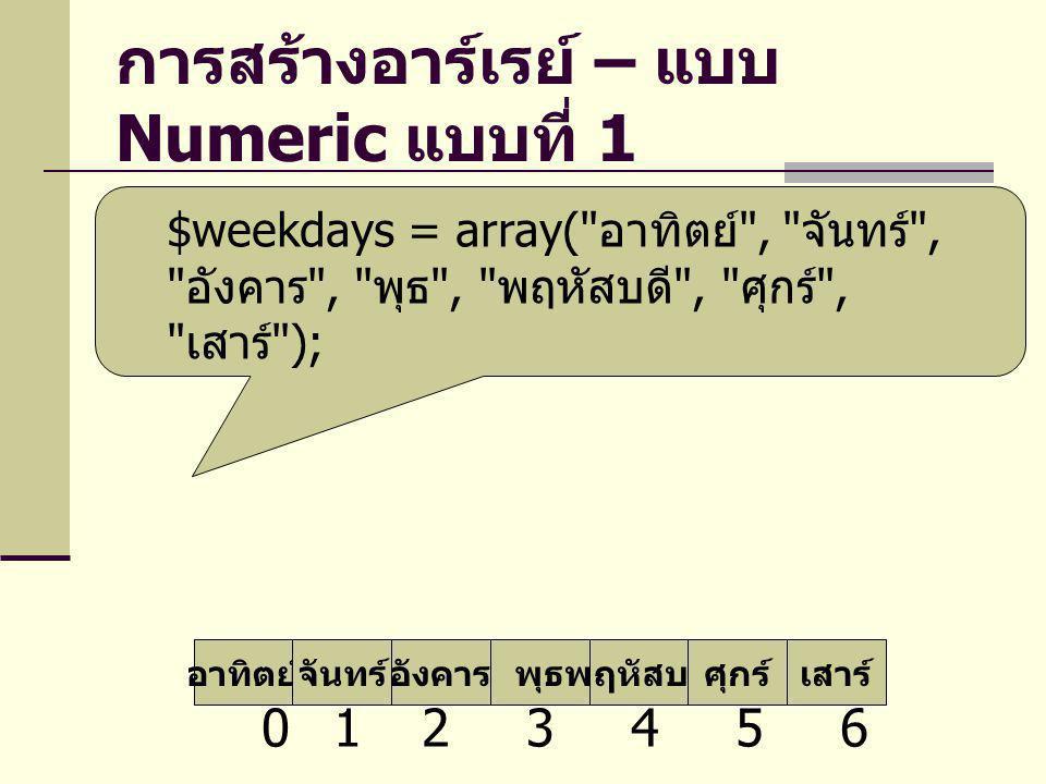 การสร้างอาร์เรย์ – แบบ Numeric แบบที่ 1