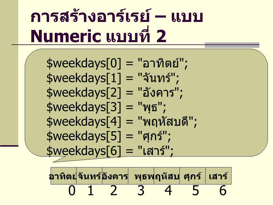 การสร้างอาร์เรย์ – แบบ Numeric แบบที่ 2