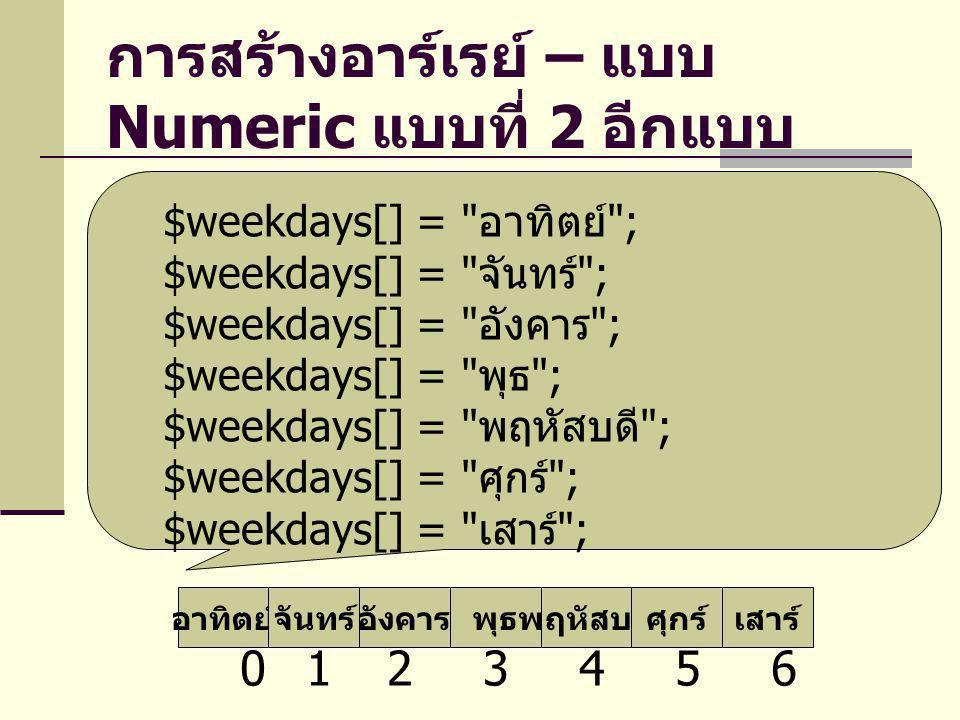 การสร้างอาร์เรย์ – แบบ Numeric แบบที่ 2 อีกแบบ
