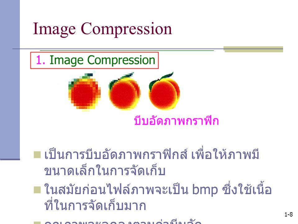 Image Compression เป็นการบีบอัดภาพกราฟิกส์ เพื่อให้ภาพมีขนาดเล็กในการจัดเก็บ. ในสมัยก่อนไฟล์ภาพจะเป็น bmp ซึ่งใช้เนื้อที่ในการจัดเก็บมาก.