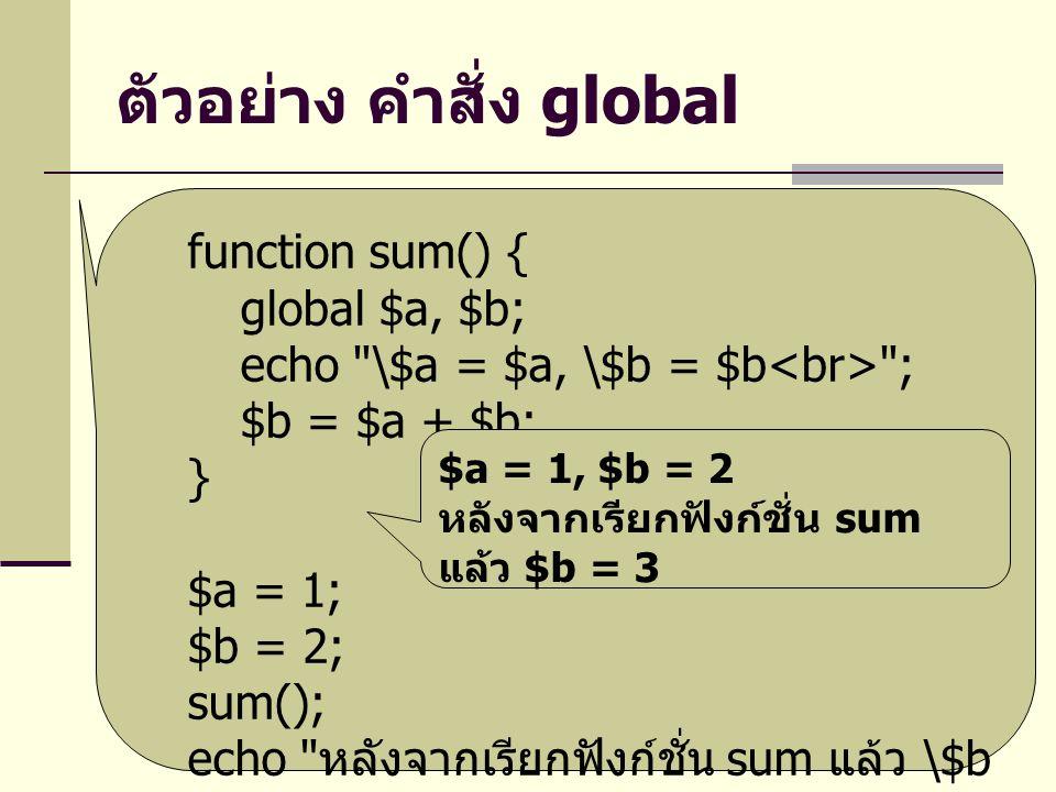 ตัวอย่าง คำสั่ง global