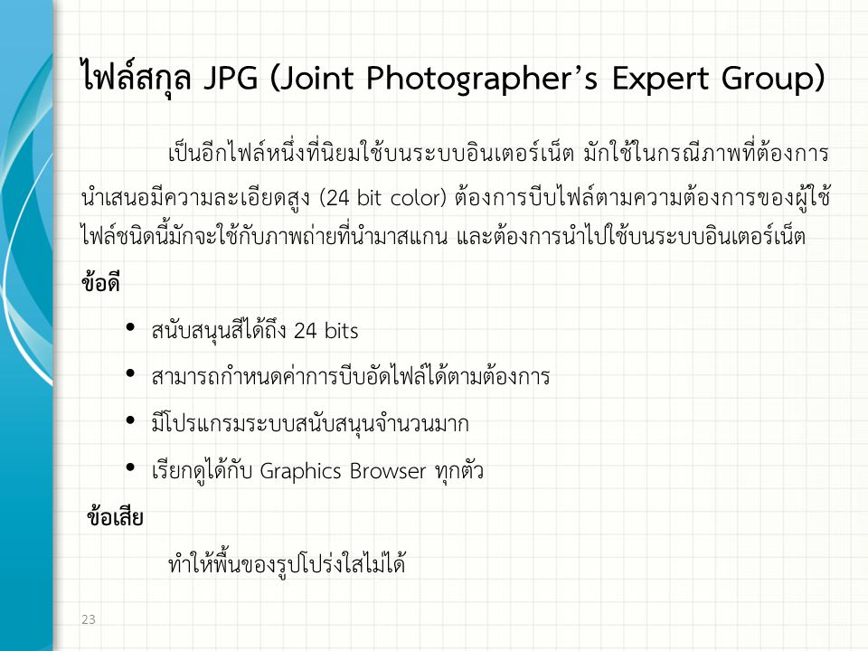 ไฟล์สกุล JPG (Joint Photographer's Expert Group)