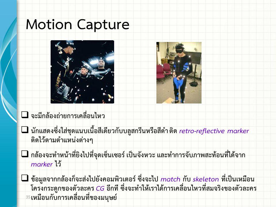 Motion Capture จะมีกล้องถ่ายการเคลื่อนไหว