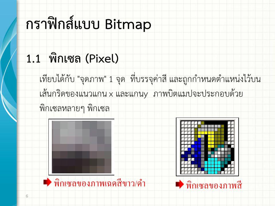 กราฟิกส์แบบ Bitmap 1.1 พิกเซล (Pixel)