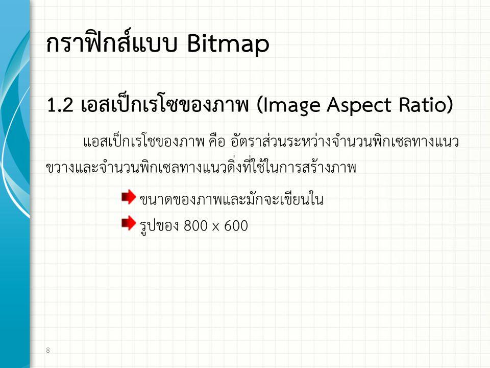 กราฟิกส์แบบ Bitmap 1.2 เอสเปกเรโซของภาพ (Image Aspect Ratio)
