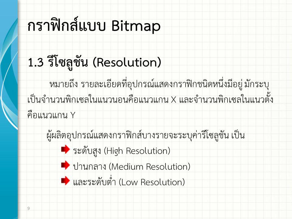 กราฟิกส์แบบ Bitmap 1.3 รีโซลูชัน (Resolution)