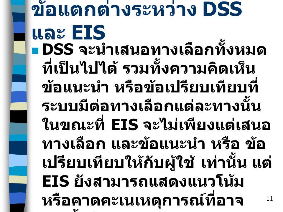ข้อแตกต่างระหว่าง DSS และ EIS