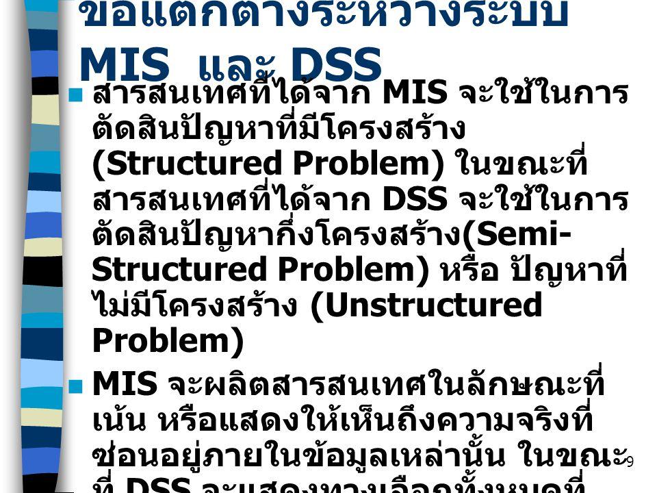 ข้อแตกต่างระหว่างระบบ MIS และ DSS