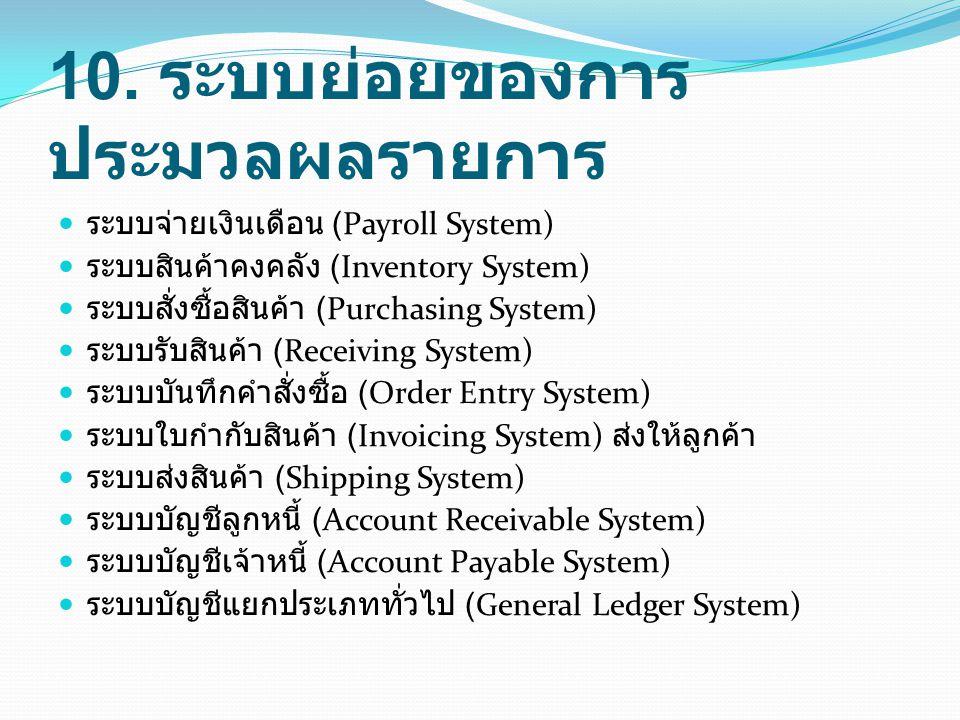 10. ระบบย่อยของการประมวลผลรายการ