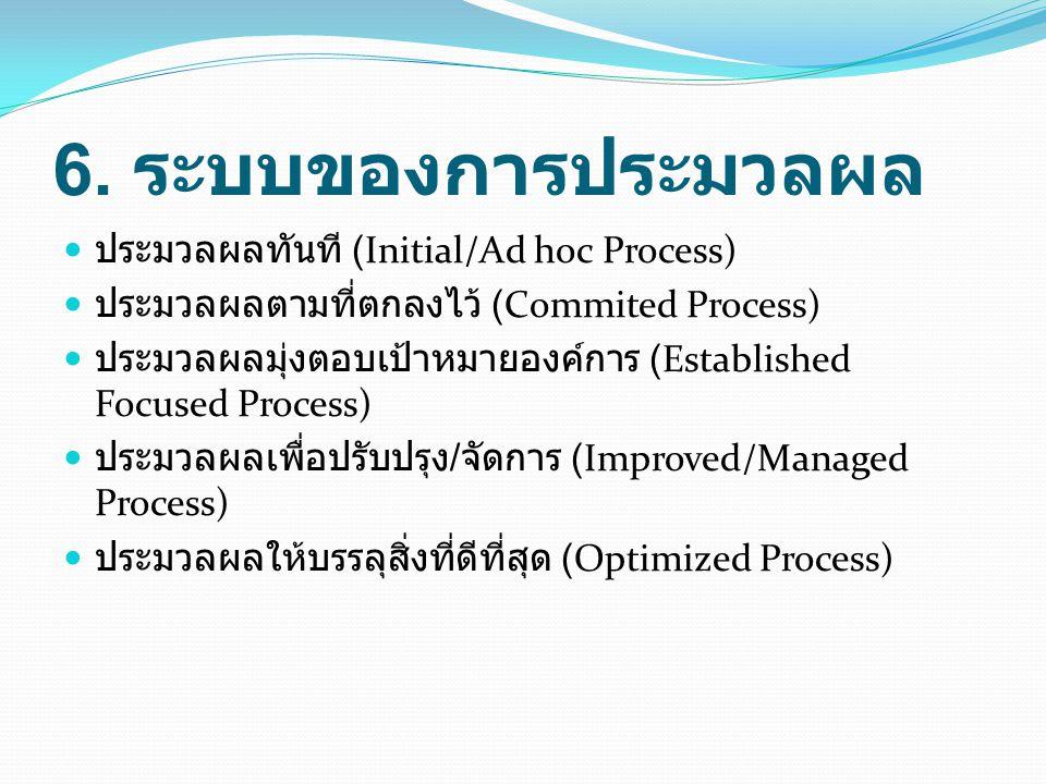 6. ระบบของการประมวลผล ประมวลผลทันที (Initial/Ad hoc Process)