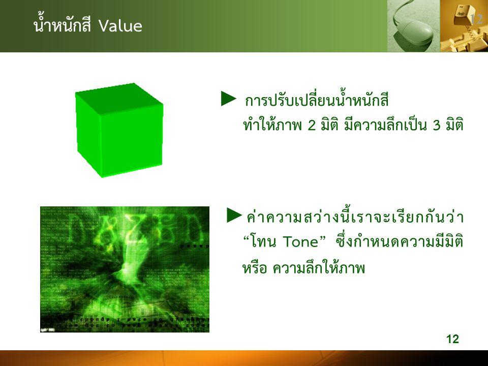 น้ำหนักสี Value ► การปรับเปลี่ยนน้ำหนักสี