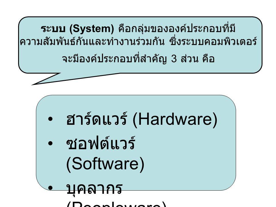 ฮาร์ดแวร์ (Hardware) ซอฟต์แวร์ (Software) บุคลากร (Peopleware)