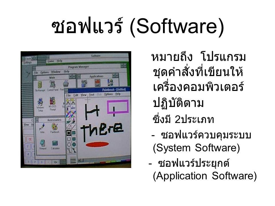 ซอฟแวร์ (Software) หมายถึง โปรแกรมชุดคำสั่งที่เขียนให้เครื่องคอมพิวเตอร์ปฏิบัติตาม. ซึ่งมี 2ประเภท.