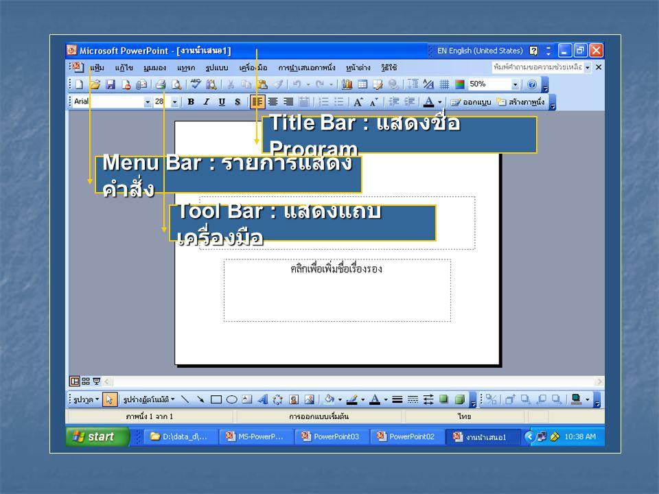 Title Bar : แสดงชื่อ Program