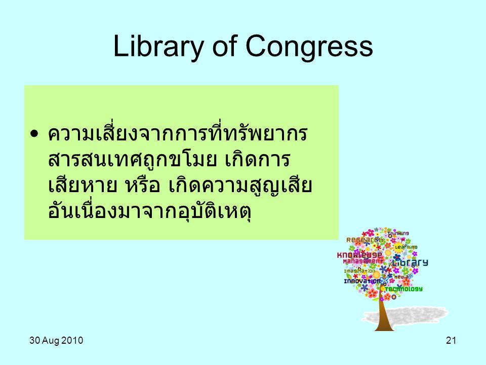 Library of Congress ความเสี่ยงจากการที่ทรัพยากรสารสนเทศถูกขโมย เกิดการเสียหาย หรือ เกิดความสูญเสียอันเนื่องมาจากอุบัติเหตุ