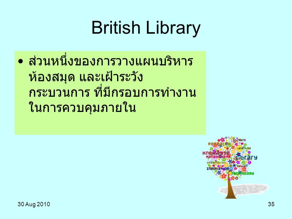 British Library ส่วนหนึ่งของการวางแผนบริหารห้องสมุด และเฝ้าระวังกระบวนการ ที่มีกรอบการทำงานในการควบคุมภายใน.