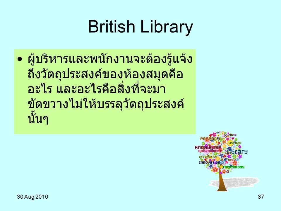 British Library ผู้บริหารและพนักงานจะต้องรู้แจ้งถึงวัตถุประสงค์ของห้องสมุดคืออะไร และอะไรคือสิ่งที่จะมาขัดขวางไม่ให้บรรลุวัตถุประสงค์นั้นๆ.