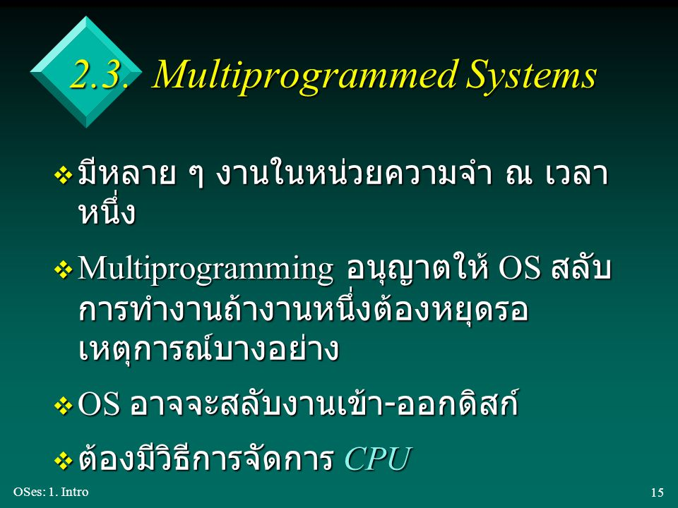 2.3. Multiprogrammed Systems