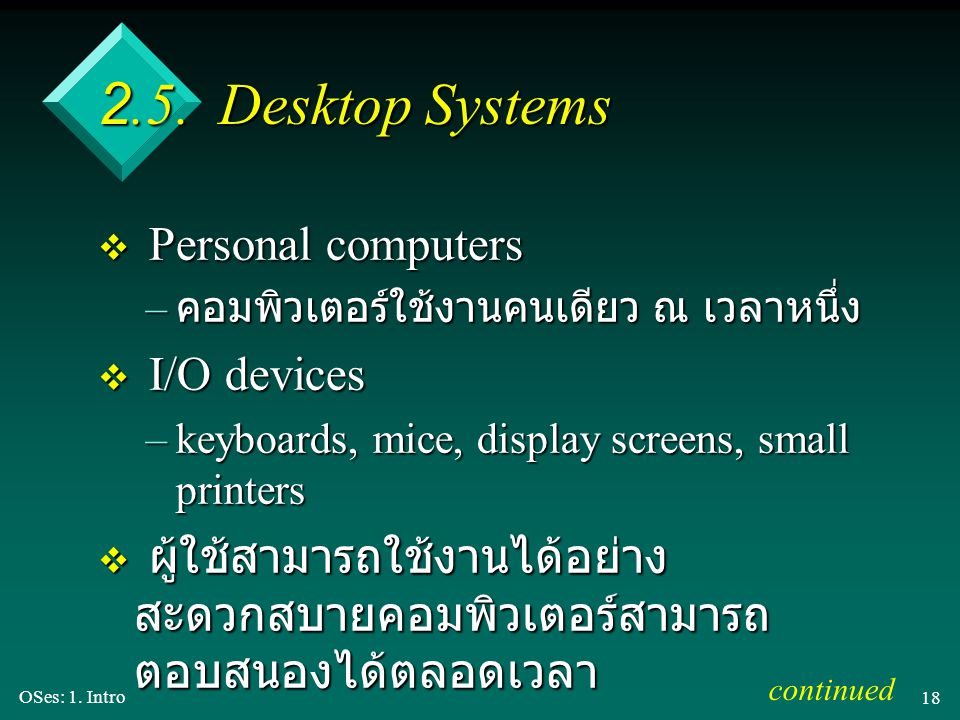 2.5. Desktop Systems Personal computers I/O devices