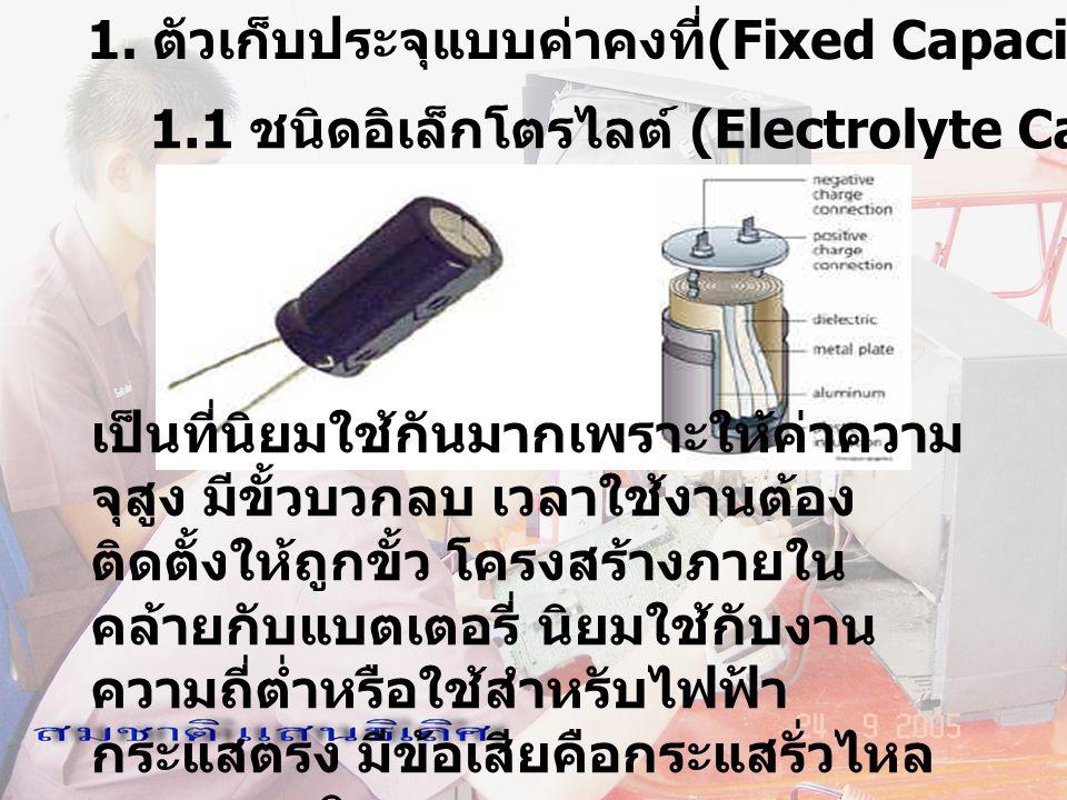 1. ตัวเก็บประจุแบบค่าคงที่(Fixed Capacitor)