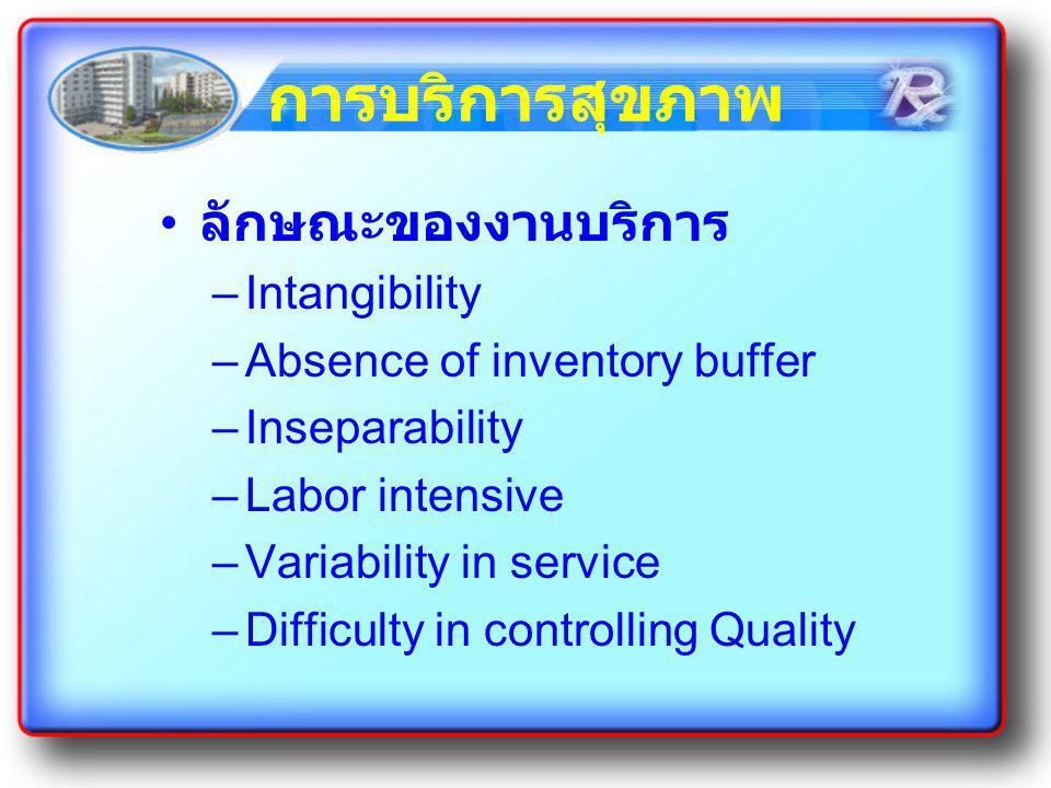 การบริการสุขภาพ ลักษณะของงานบริการ Intangibility