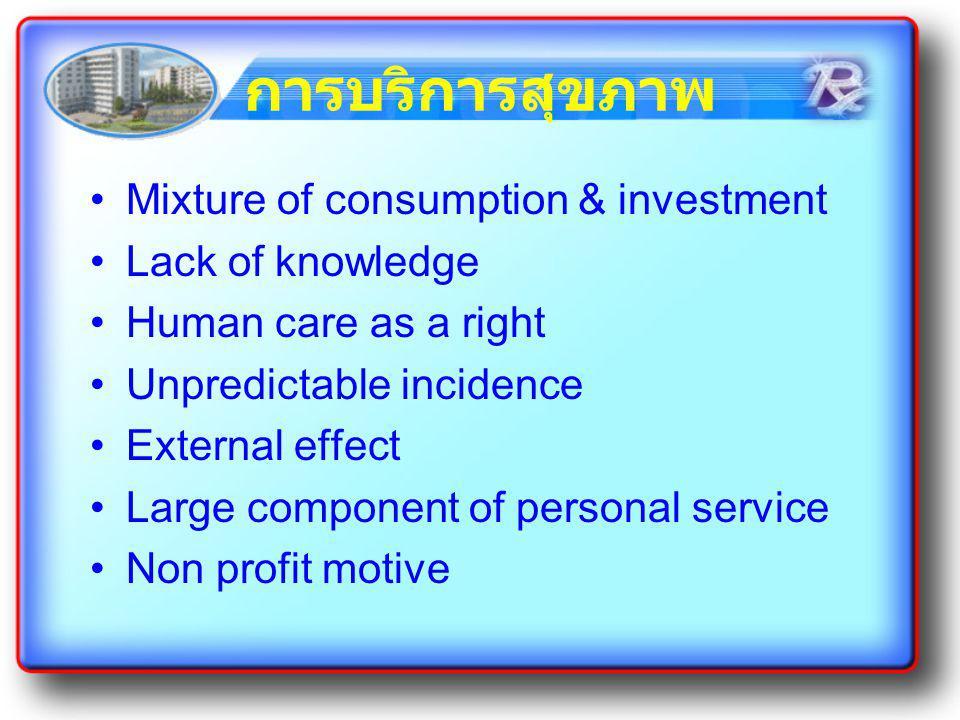 การบริการสุขภาพ Mixture of consumption & investment Lack of knowledge